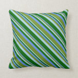 [ Thumbnail: Cornflower Blue, Green, Light Blue & Dark Green Throw Pillow ]