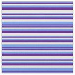 [ Thumbnail: Cornflower Blue, Indigo, and White Stripes Fabric ]