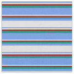 [ Thumbnail: Cornflower Blue, Lavender, Dark Red & Teal Lines Fabric ]