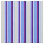 [ Thumbnail: Cornflower Blue, Light Grey, Blue, and Purple Fabric ]