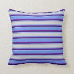 [ Thumbnail: Cornflower Blue, Light Grey, Blue, and Purple Throw Pillow ]