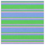 [ Thumbnail: Cornflower Blue, Lime Green, and Plum Colored Fabric ]
