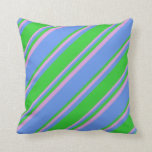 [ Thumbnail: Cornflower Blue, Lime Green, and Plum Colored Throw Pillow ]