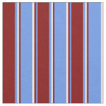 [ Thumbnail: Cornflower Blue, Maroon & White Lines Fabric ]