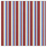 [ Thumbnail: Cornflower Blue, Pale Goldenrod, and Maroon Lines Fabric ]