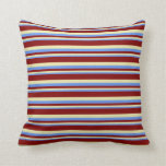 [ Thumbnail: Cornflower Blue, Pale Goldenrod, and Maroon Lines Throw Pillow ]