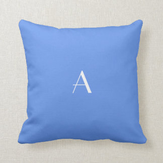 Cornflower Blue Pillow w White Monogram