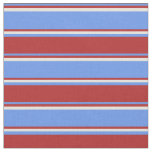[ Thumbnail: Cornflower Blue, Red, and Beige Lines Fabric ]