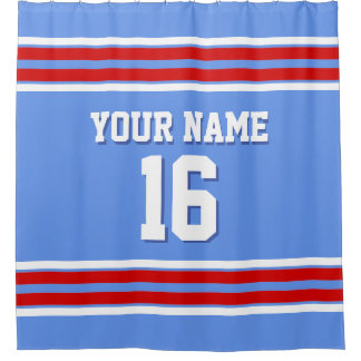 red white and blue shower curtain. Cornflower Blue Red White Stripes Sports Jersey Shower Curtain And Curtains  Zazzle