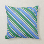 [ Thumbnail: Cornflower Blue, Sea Green, and Bisque Colored Throw Pillow ]