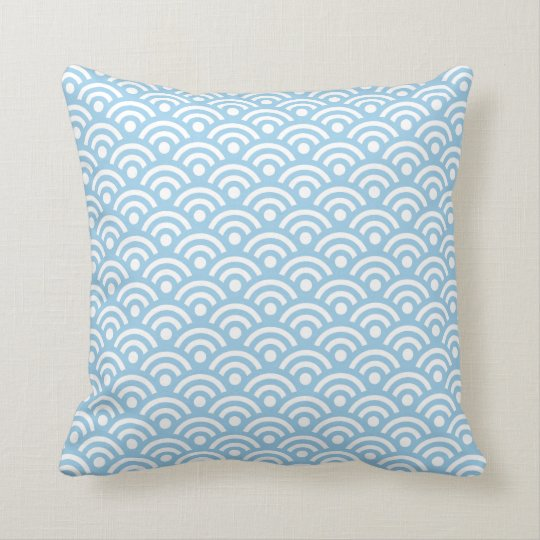 Cornflower Blue Seigaiha Pillow