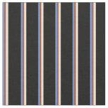 [ Thumbnail: Cornflower Blue, Sienna, Bisque & Black Colored Fabric ]