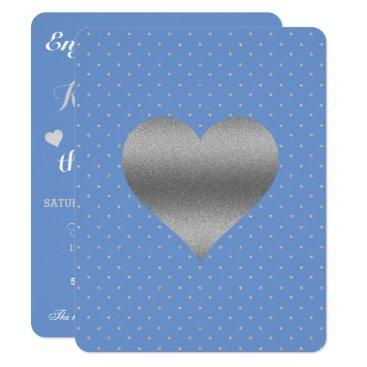 McTiffany Tiffany Aqua Cornflower Blue & Silver Polka Dot Party Card