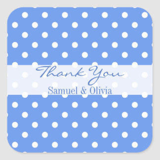 Cornflower Blue Square Polka Dotted Thank You Square Sticker