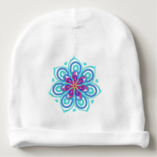 Cornflower blue starflower hearts baby beanie