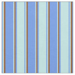 [ Thumbnail: Cornflower Blue, Turquoise & Brown Colored Lines Fabric ]
