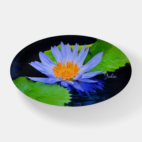 Cornflower Blue Water Lily Oval Glass Paperweight