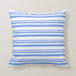 [ Thumbnail: Cornflower Blue & White Striped/Lined Pattern Throw Pillow ]