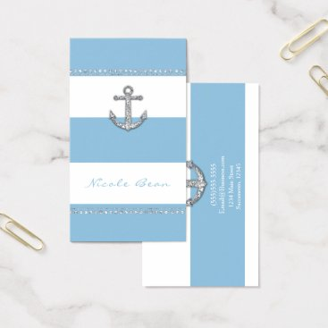 Beach Themed Cornflower Blue & White Stripes Diamond Anchor Business Card