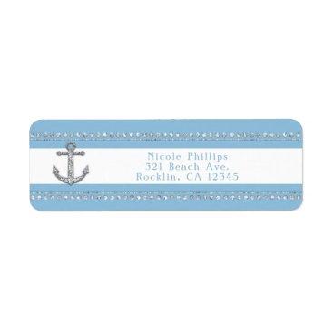 Cornflower Blue & White Stripes Diamond Anchor Label
