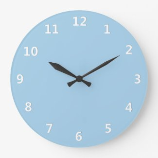 Cornflower Blue with White Numbers Wall Clock