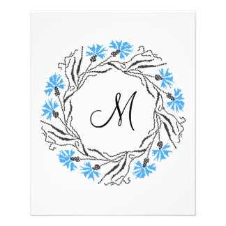 Cornflower cross-stitch wreath flyer