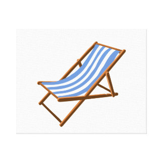 cornflower striped wooden beach chair.png stretched canvas print