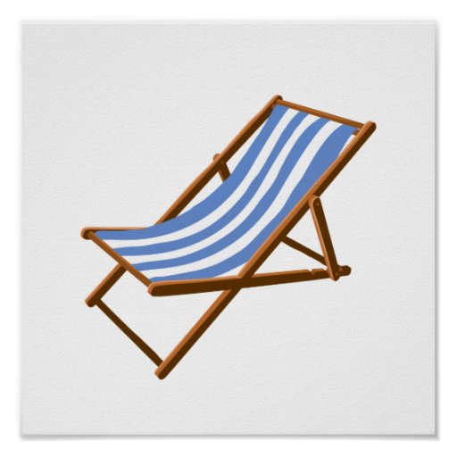 cornflower striped wooden beach chair.png poster
