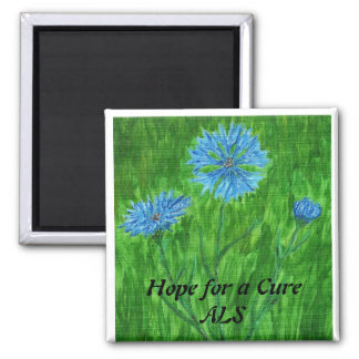 Cornflowers ~ Hope for a Cure - ALS 2 Inch Square Magnet