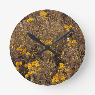 cornflowers Sepia, in the Rocky Mountain Round Wall Clock