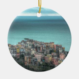 Corniglia on the cliffs, Cinque Terre Italy Double-Sided Ceramic Round Christmas Ornament