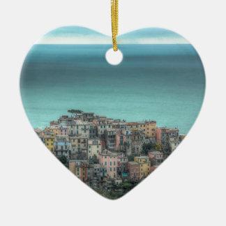 Corniglia on the cliffs, Cinque Terre Italy Double-Sided Heart Ceramic Christmas Ornament
