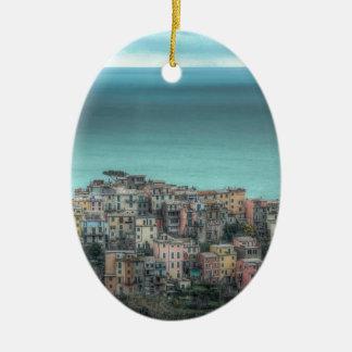 Corniglia on the cliffs, Cinque Terre Italy Double-Sided Oval Ceramic Christmas Ornament
