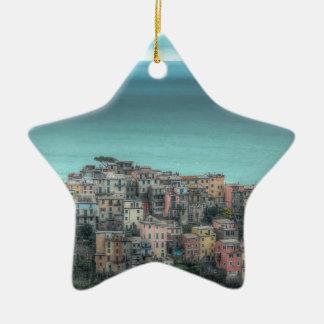 Corniglia on the cliffs, Cinque Terre Italy Double-Sided Star Ceramic Christmas Ornament