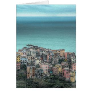 Corniglia on the cliffs, Cinque Terre Italy Greeting Card