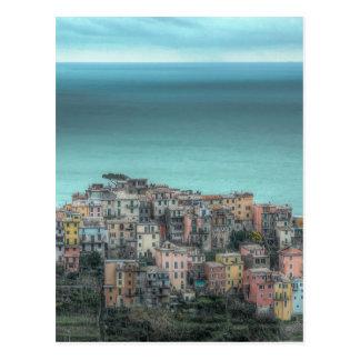 Corniglia on the cliffs, Cinque Terre Italy Postcard