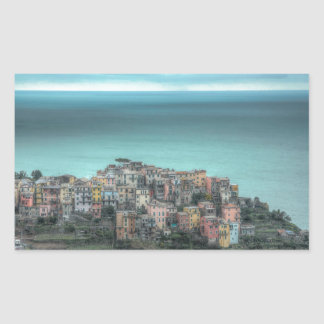 Corniglia on the cliffs, Cinque Terre Italy Rectangular Sticker