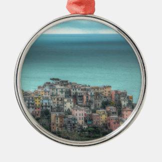 Corniglia on the cliffs, Cinque Terre Italy Round Metal Christmas Ornament