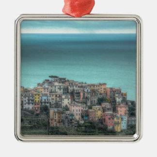 Corniglia on the cliffs, Cinque Terre Italy Square Metal Christmas Ornament