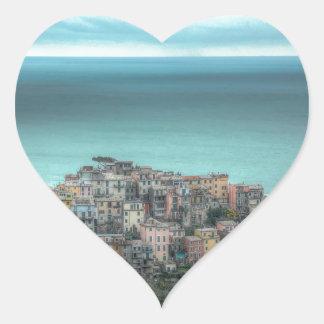 Corniglia on the cliffs, Cinque Terre Italy Heart Stickers