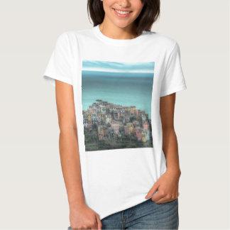 Corniglia on the cliffs, Cinque Terre Italy Tees