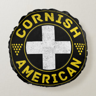 Cornish American Flag Ensign Round Cushion Round Pillow