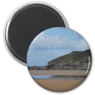 Cornish Beach and Coastline on gloomy day Magnet