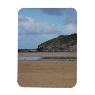 Cornish Beach and Coastline on gloomy day Rectangle Magnet