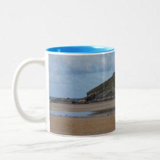 Cornish Beach and Coastline on gloomy day Two-Tone Coffee Mug