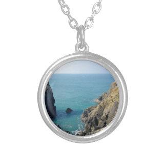 Cornish cliffs round pendant necklace
