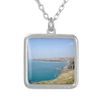 Cornish cliffs square pendant necklace
