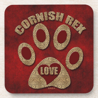 Cornish Rex Cat Breed Red Coaster Set