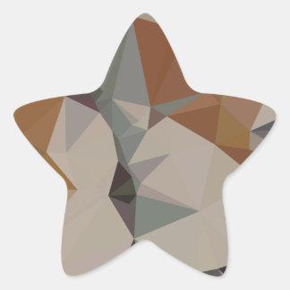 Cornsilk Brown Abstract Low Polygon Background Star Sticker
