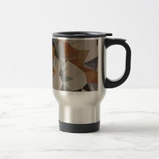 Cornsilk Brown Abstract Low Polygon Background Travel Mug